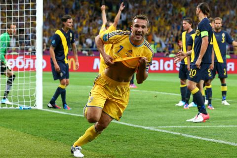 KIEV, UKRAINE - JUNE 11:  Andriy Shevchenko of Ukraine celebrates scoring their second goal during the UEFA EURO 2012 group D match between Ukraine and Sweden at The Olympic Stadium on June 11, 2012 in Kiev, Ukraine.  (Photo by Alex Livesey/Getty Images)
