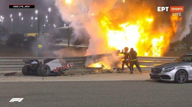 Formula 1: Τρομερό ατύχημα για τον Γκροζάν στο Μπαχρέιν, εξερράγη το μονοθέσιό του