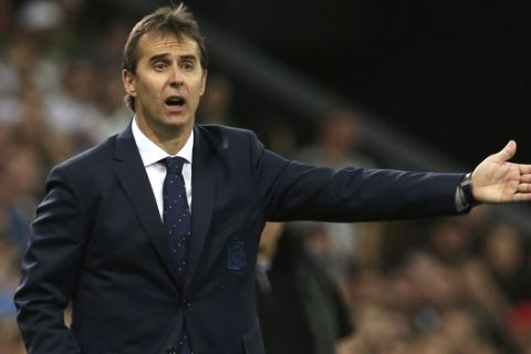 Spain's head coach Julen Lopetegui shouts during a friendly soccer match between Spain and Tunisia in Krasnodar, Russia, Saturday, June 9, 2018. (AP Photo)