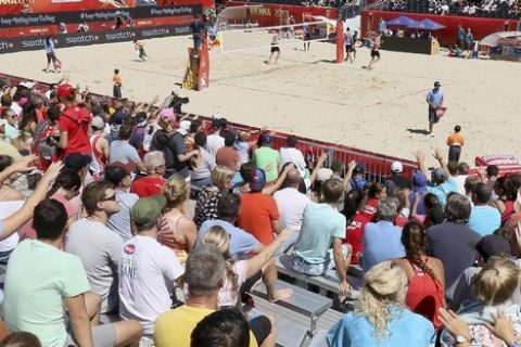 Overview of the Beach Volley ball arena taken during the Beach Volleyball Worlds Championships in Vienna, Austria, Friday, July 28, 2017. (AP Photo/Ronald Zak)