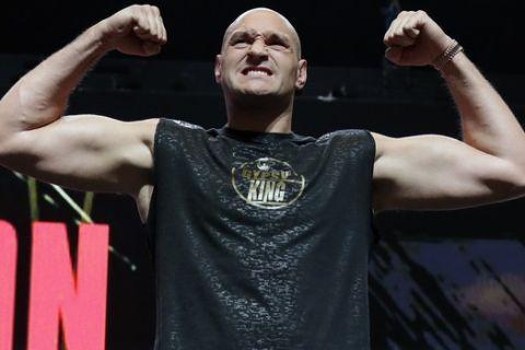 Ο Tyson Fury κατά τη διάρκεια αγώνα του στο Λας Βέγκας