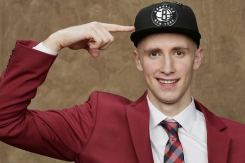 BROOKLYN, NY - JUNE 21: Dzanan Musa poses for a portrait after being drafted by the Brooklyn Nets during the 2018 NBA Draft on June 21, 2018 at Barclays Center in Brooklyn, New York. NOTE TO USER: User expressly acknowledges and agrees that, by downloading and or using this Photograph, user is consenting to the terms and conditions of the Getty Images License Agreement. Mandatory Copyright Notice: Copyright 2018 NBAE (Photo by Steve Freeman/NBAE via Getty Images)