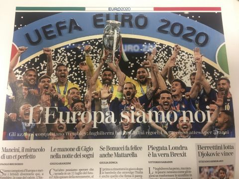 Το πρωτοσέλιδο της Stampa για την κατάκτηση του Euro 2020 από την εθνική Ιταλίας