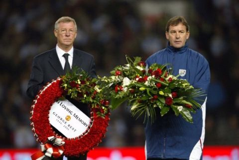 Manchester United's manager Alex Ferguson and West Bromwich Albion's manager Bryan Robson hold wreaths for the late George Best