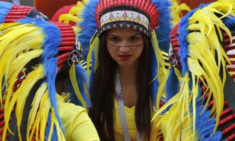 Colombian fans get ready for group H match between Colombia and Japan at the 2018 soccer World Cup in the Mordavia Arena in Saransk, Russia, Tuesday, June 19, 2018. (AP Photo/Vadim Ghirda)