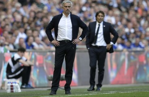 Manchester United manager Jose Mourinho and Chelsea head coach Antonio Conte, right, watch from the sidelines during the English FA Cup final soccer match between Chelsea and Manchester United at Wembley stadium in London, Saturday, May 19, 2018. (AP Photo/Tim Ireland)