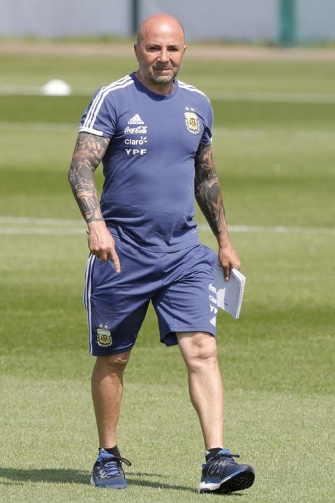 Jorge Sampaoli supervises a training session of Argentina at the 2018 soccer World Cup in Bronnitsy, Russia, Saturday, June 23, 2018. (AP Photo/Ricardo Mazalan)