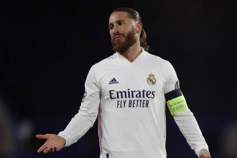 Ο Σέρχιο Ράμος με τη φανέλα της Ρεάλ Μαδρίτης σε αναμέτρηση κόντρα στην Τσέλσι για το Champions League   5 Μαΐου 2021