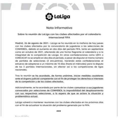 Η La Liga στο πλευρό των ομάδων μετά τη συνάντησή τους, δεν αφήνει τους παίκτες για τα ματς των εθνικών τους στη Λατινική Αμερική
