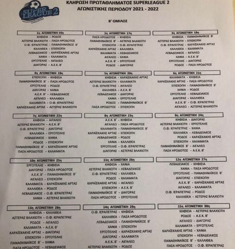 Το πρόγραμμα του Νοτίου ομίλου της Super League 2