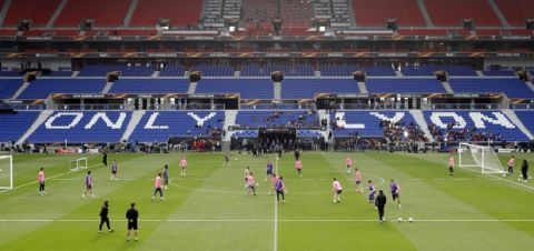 Atletico Madrid team trains during a training session at the Groupama stadium in Decines, outside Lyon, central France, Tuesday May 15, 2018. Atletico Madrid will play Marseille in the Europa League final on Wednesday. (AP Photo/Laurent Cipriani)