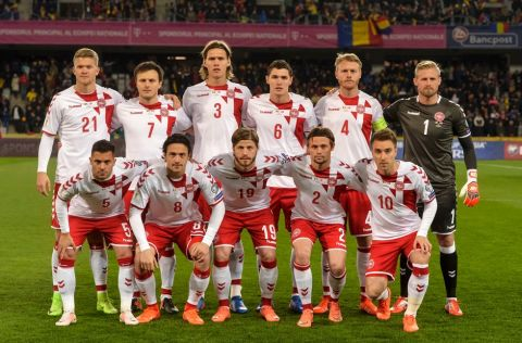 FILE - In this Sunday, March 26, 2017 filer, Denmark's national soccer team poses prior to their World Cup Group E qualifying soccer match against Romania, at the Cluj Arena stadium in Cluj, Romania. (AP Photo/Andreea Alexandru, File)