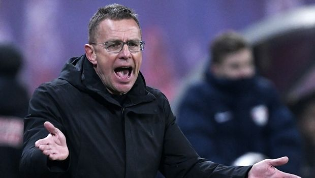Leipzig's head coach Ralf Rangnick gestures during the German first division Bundesliga soccer match between RB Leipzig and TSG 1899 Hoffenheim in Leipzig, Germany, Monday, Feb. 25, 2019. The match ended 1-1. (AP Photo/Jens Meyer)