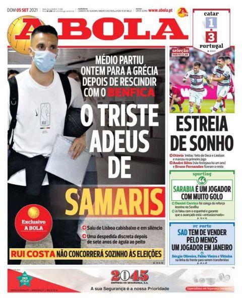 Το πρωτοσέλιδο της A Bola για τον Σάμαρη