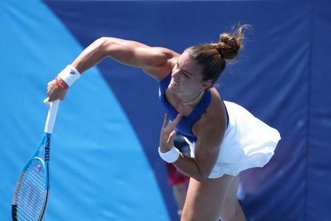 Η Μαρία Σάκκαρη στον δεύτερο αγώνα της στο ολυμπιακό τουρνουά τένις
