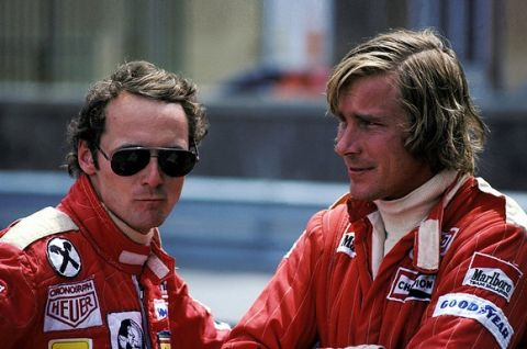 Season long rivals (L to R): Niki Lauda (AUT) Ferrari, who won the race, and James Hunt (GBR) McLaren, who retired on lap 25 with a blown engine. Monaco Grand Prix, Rd6, Monte Carlo, 30 May 1976. BEST IMAGE