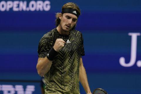Ο Στέφανος Τσιτσιπάς στο ματς κόντρα στον Μαναρινό για το US Open