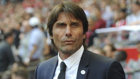 Chelsea manager Antonio Conte during the English FA Cup final soccer match between Chelsea v Manchester United at Wembley stadium in London, England, Saturday, May 19, 2018. (AP Photo/Rui Vieira)