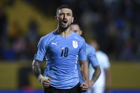 Ο Ντε Αρασκαέτα πανηγυρίζει γκολ με την Ουρουγουάη κόντρα στην Βολιβία για τα προκριματικά του Μουντιάλ 2022