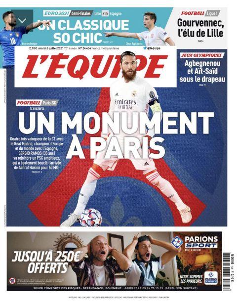 Σέρχιο Ράμος: Το αποθεωτικό πρωτοσέλιδο της Equipe