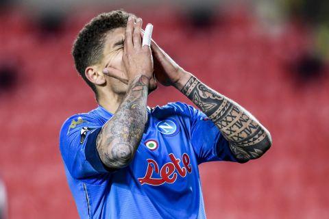Napoli's Giovanni Di Lorenzo reacts during the Europa League, round of 32, first leg soccer match between Granada and Napoli at the Los Carmenes stadium in Granada, Spain, Thursday, Feb. 18, 2021. (AP Photo/Jose Breton)