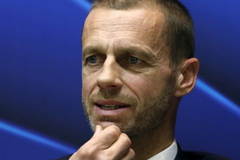 FILE - In this Friday, March 31, 2017 file photo, UEFA president Aleksander Ceferin speaks during a news conference in Stara Pazova, near Belgrade, Serbia. European footballs governing body has introduced new stringent rules against corrupted and bribery designed to prevent votes for tournament hosts being tainted. UEFAs updated disciplinary code has been distributed in the week global counterpart FIFA published the findings of a long-awaited investigation into dubious dealings during the 2018 and 2022 World Cup bidding contest. (AP Photo/Darko Vojinovic, File)
