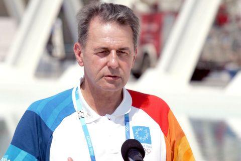 Ο πρώην πρόεδρος της Διεθνής Ολυμπιακής Επιτροπής Ζακ Ρογκ στους Ολυμπιακούς Αγώνες της Αθήνας το 2004