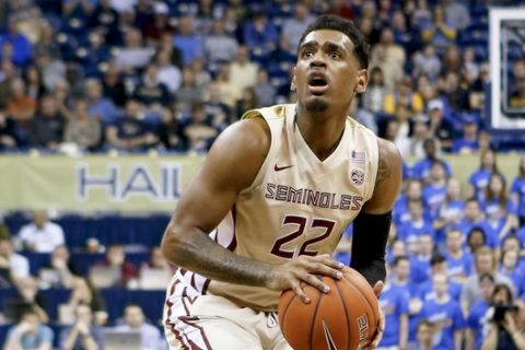 Florida State's Xavier Rathan-Mayes (22) plays against Pittsburgh an NCAA college basketball game, Saturday, Feb. 18, 2017, in Pittsburgh. (AP Photo/Keith Srakocic)