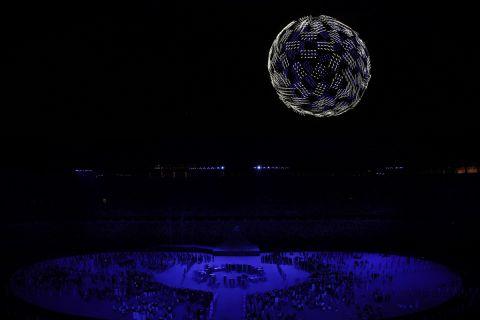 Στιγμή απ' την τελετή έναρξης των Ολυμπιακών Αγώνων