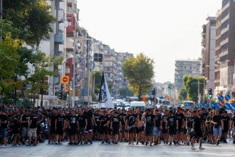 Πορεία διαμαρτυρίας των οπαδών του ΠΑΟΚ πριν από το ευρωπαϊκό ματς με την Μποέμιανς | 12 Αυγούστου 2021