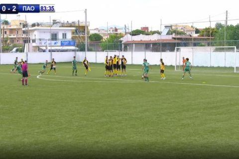 Το γκολ του Σιδερά στην αναμέτρηση ΑΕΚ - Παναθηναϊκός Κ19
