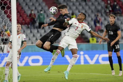 Ο Κάιλ Χάβερτς σκοράρει για την Γερμανία κόντρα στην Ουγγαρία σε ματς των δύο ομάδων στο Euro 2020