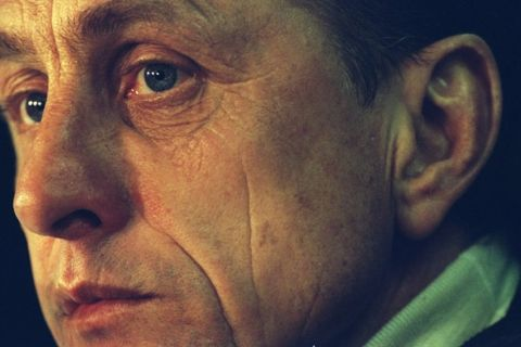 10 Feb 1996:  Portrait of Barcelona Manager Johan Cruyff during a Spanish League match against Real Madrid at the Nou Camp Stadium in Barcelona, Spain. Barcelona won the match 3-0. \ Mandatory Credit: Ben  Radford/Allsport