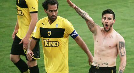 Giorgos Katidis (AEK Athens) scores winner v Veria, celebrates with Nazi Salute