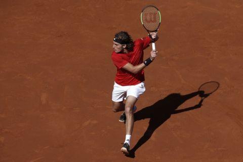 Greece's Stefanos Tsitsipas prepares to return the ball to Spain's Rafael Nadal during the Barcelona Open Tennis Tournament final in Barcelona, Spain, Sunday, April 29, 2018. (AP Photo/Manu Fernandez)