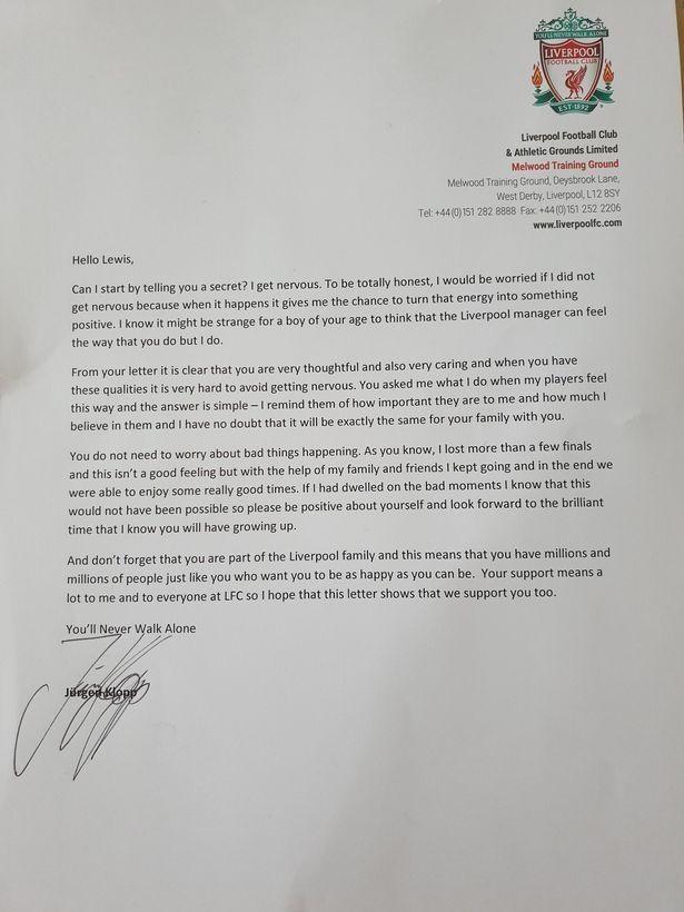 Η επιστολή του Κλοπ σε 11χρονο οπαδό της Λίβερπουλ για το άγχος