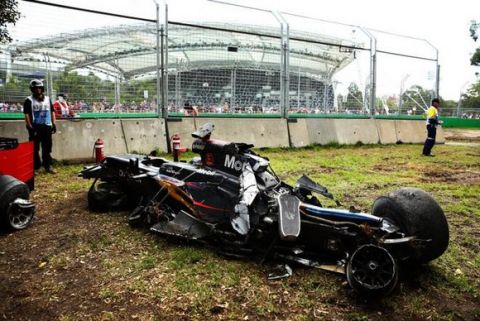 MELBOURNE, AUSTRALIA - MARCH 20:  The wreckage of Fernando Alonso of Spain and McLaren Honda by the side of the track during the Australian Formula One Grand Prix at Albert Park on March 20, 2016 in Melbourne, Australia.  (Photo by Robert Cianflone/Getty Images)