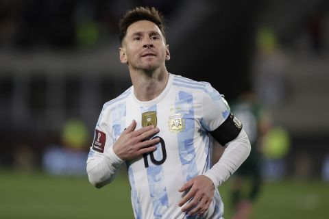 Argentina's Lionel Messi celebrates scoring the opening goal against Bolivia during a qualifying soccer match for the FIFA World Cup Qatar 2022, in Buenos Aires, Argentina, Thursday, Sept. 9, 2021. (Juan Roncoroni/Pool via AP)