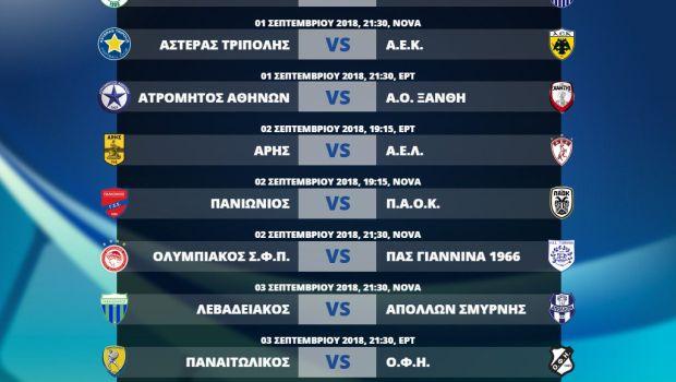 Το πρόγραμμα της 1ης και της 2ης αγωνιστικής της Super League