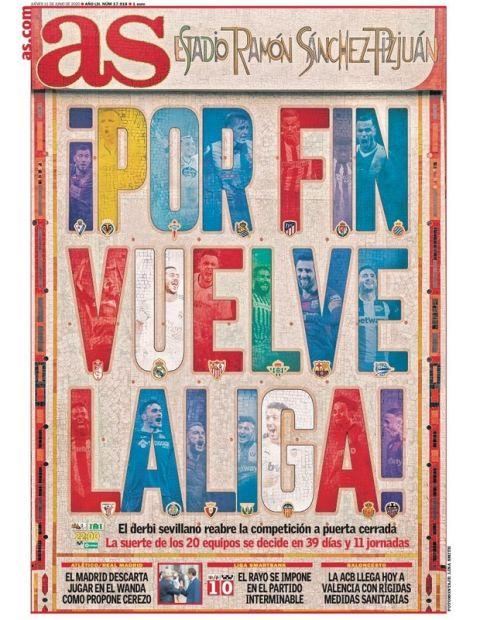 Το πολύχρωμο πρωτοσέλιδο της AS για τη σέντρα στην Ισπανία