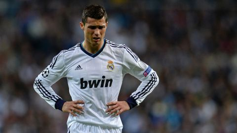 MADRID, SPAIN - APRIL 30:  A dejected Cristiano Ronaldo of Real Madrid during the UEFA Champions League Semi Final Second Leg match between Real Madrid and Borussia Dortmund at Estadio Santiago Bernabeu on April 30, 2013 in Madrid, Spain.  (Photo by Lars Baron/Bongarts/Getty Images)