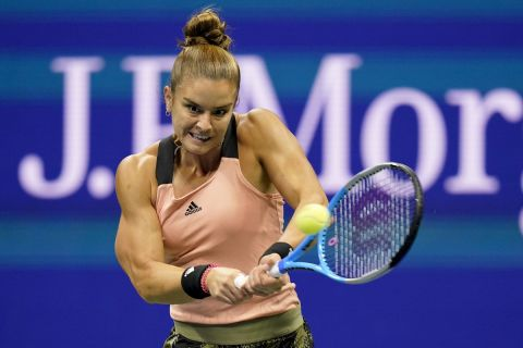 Η Μαρία Σάκκαρη κατά τη διάρκεια του ημιτελικού του US Open