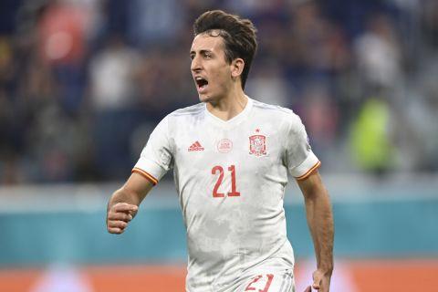 Ο Ογιαρθάμπαλ πανηγυρίζει γκολ στο Ισπανία - Ελβετία για τα προημιτελικά του Euro 2020.