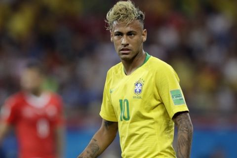 Brazil's Neymar during the group E match between Brazil and Switzerland at the 2018 soccer World Cup in the Rostov Arena in Rostov-on-Don, Russia, Sunday, June 17, 2018. (AP Photo/Rostov-on-Don March 9 BRA vs CHE  )