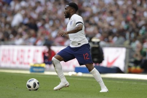 England's Danny Rose during a friendly soccer match between England and Nigeria at Wembley stadium in London, Saturday, June 2, 2018. (AP Photo/Matt Dunham)