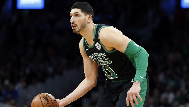 Boston Celtics' Enes Kanter plays against the Oklahoma City Thunder during the first half of an NBA basketball game, Sunday, March, 8, 2020, in Boston. (AP Photo/Michael Dwyer)