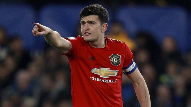 Manchester United's Harry Maguire gestures during the English League Cup soccer match between Chelsea and Manchester United at Stamford Bridge in London, Wednesday, Oct. 30, 2019. (AP Photo/Ian Walton)