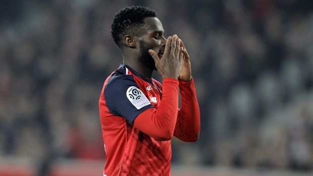 Lille's Jonathan Bamba reacts during the French League One soccer match between Lille and Monaco at the Lille Metropole stadium, in Villeneuve d'Ascq, northern France, Friday, March 15, 2019. (AP Photo/Michel Spingler)