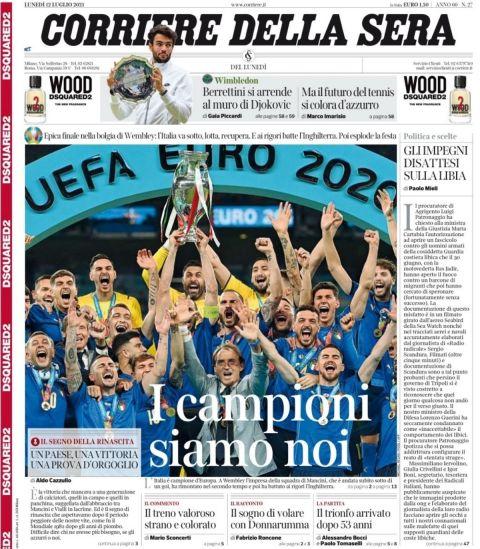 Το πρωτοσέλιδο της Corriere della Sera για την κατάκτηση του Euro 2020 από την εθνική Ιταλίας