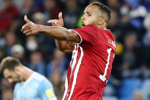 Ο Ελ Αραμπί πανηγυρίζει γκολ κόντρα στη Σλόβαν Μπρατισλάβας στα προκριματικά του Europa League